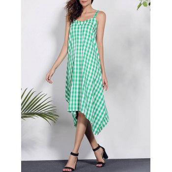 Chic Spaghetti Strap Sleeveless Asymmetrical Plaid Women's Dress