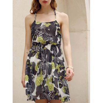 Chic Halter Sleeveless Flounced Printed Women's Chiffon Dress
