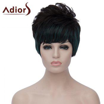 Bouffant Natural Wave Short Synthetic Stylish Green Highlight Side Bang Capless Wig For Women