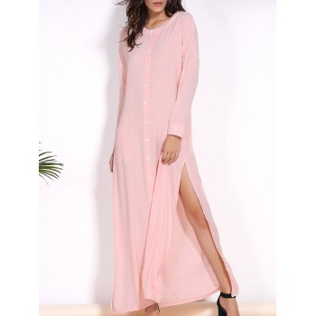 Trendy Round Collar Long Sleeve Pink High Slit Women's Cover-Up Dress