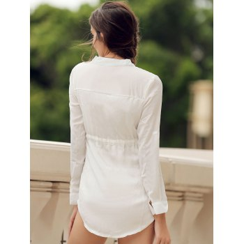 Long Sleeve Drawstring Waist Sheer Dress - L L
