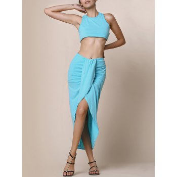 Sexy Candy Color Round Neck Crop Top and Irregular Skirt Two-Piece Set For Women
