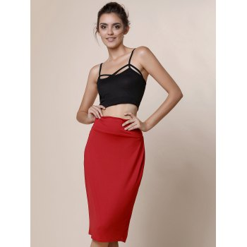 High-Waisted Work Bodycon Midi Skirt - L L
