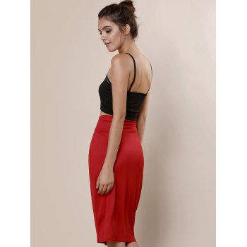High-Waisted Work Bodycon Midi Skirt - RED RED