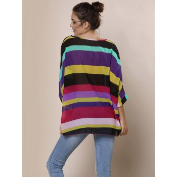 Stylish Slash Collar 3/4 Sleeve Loose-Fitting Colored Women's T-Shirt - COLORMIX ONE SIZE(FIT SIZE XS TO M)