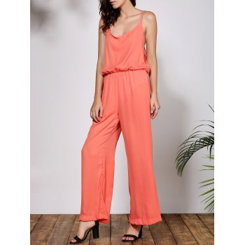 Stylish Solid Color Spaghetti Strap Women's Baggy Jumpsuit - ORANGE S