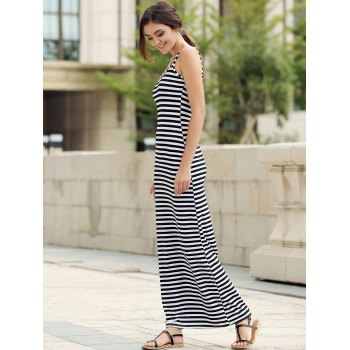 Trendy Style Scoop Neck Sleeveless Stripe Print Women's Maxi Dress - STRIPE L