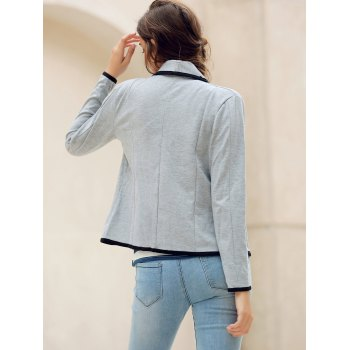 Elegant Color Splicing Shawl Collar Long Sleeve Blazer For Women - GRAY S