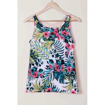 Sexy Women's Scoop Neck Lace Splicing Floral Print Racerback Top - GREEN GREEN