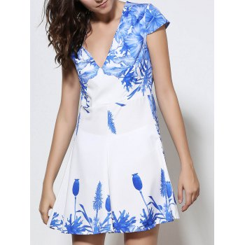 Cap Sleeve Mini A Line Floral Dress