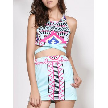 Stylish Sleeveless Round Neck Printed Crop Top + High-Waisted Skirt Women's Twinset