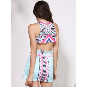 Stylish Sleeveless Round Neck Printed Crop Top + High-Waisted Skirt Women's Twinset - COLORMIX COLORMIX
