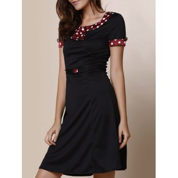 Vintage Short Sleeve Scoop Collar Polka Dot Women's Fishtail Mermaid Dress
