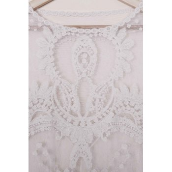 Sexy Scoop Neck Lace Embroidery See-Through Long Sleeve Women's Cover-Up - WHITE ONE SIZE(FIT SIZE XS TO M)