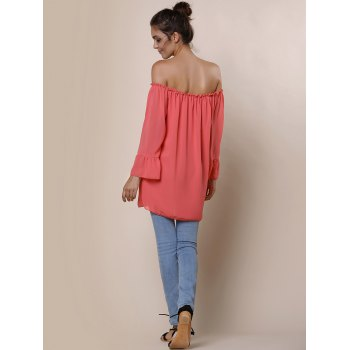 Endearing Off-The-Shoulder Pure Color Ruffled Blouse For Women - ORANGE RED S