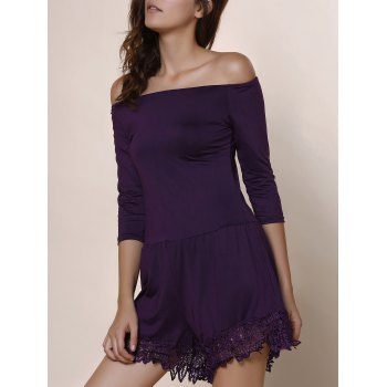 Sexy Solid Color Slash Neck 3/4 Sleeve Romper For Women - PURPLE S