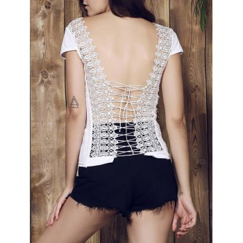 Sexy Scoop Neck Pure Color Backless Lace Spliced Strappy T-Shirt For Women - WHITE S