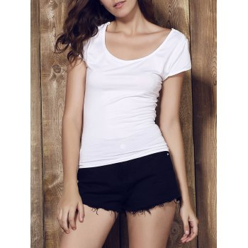 Sexy Scoop Neck Pure Color Backless Lace Spliced Strappy T-Shirt For Women