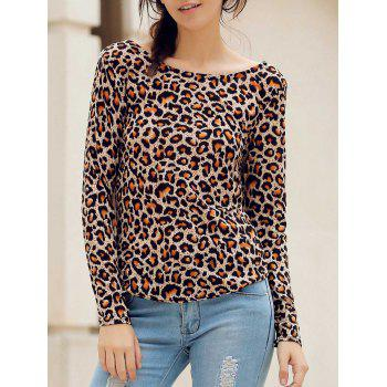 Stylish Round Neck Long Sleeve Backless Leopard Print Women's T-Shirt