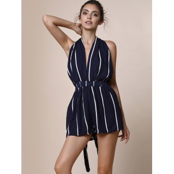 Sexy Plunging Neck Sleeveless Striped Lace-Up Backless Women's Romper - BLUE S