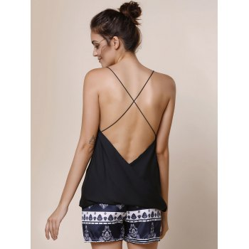 Sexy Spaghetti Strap Solid Color Criss-Cross Backless Women's Tank Top - BLACK S