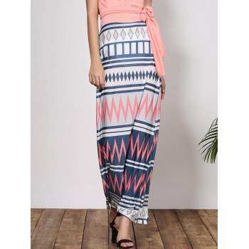 Stylish Plunging Neck Zigzag Criss-Cross Sleeveless Women's Maxi Dress