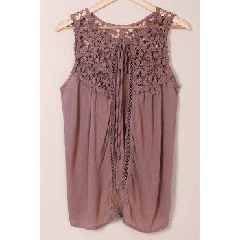 Refreshing Scoop Neck Crochet Lace Splicing Sleeveless Tank Top For Women