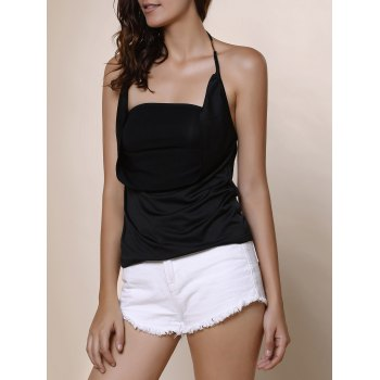 Solid Color Backless Blouse For Women - BLACK S