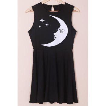 Stylish Moon and Star Print Sleeveless Round Neck Women's Dress