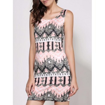 Trendy Round Neck Sleeveless Bodycon Printed Women's Dress - COLORMIX L