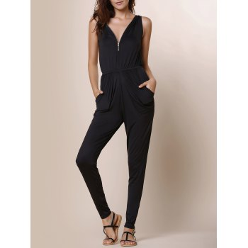 Fashionable V-Neck Zippered Sleeveless Black Ruffled Jumpsuit For Women