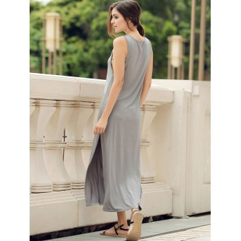 Stylish Scoop Neck Sleeveless High Slit Solid Color Women's Dress - GRAY GRAY