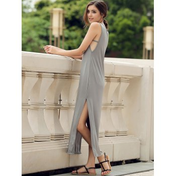 Stylish Scoop Neck Sleeveless High Slit Solid Color Women's Dress - L L