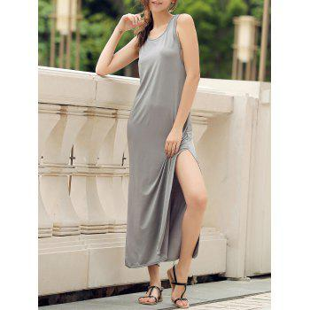 Stylish Scoop Neck Sleeveless High Slit Solid Color Women's Dress - GRAY L