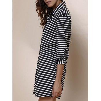 Simple Striped Polo Collar Long Sleeve Blouse For Women - STRIPE M