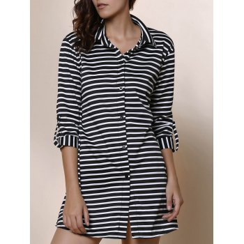Simple Striped Polo Collar Long Sleeve Blouse For Women