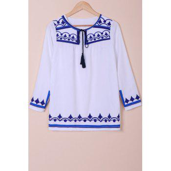 Brief Floral Print Round Collar Long Sleeve Dress For Women - WHITE M