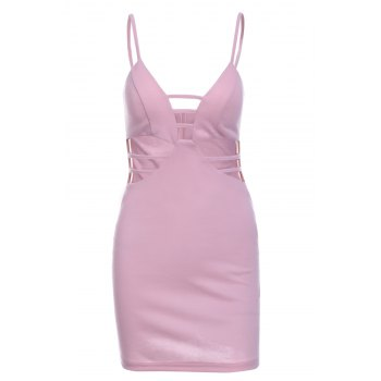 Spaghetti Strap Pink Hollow Dress For Women