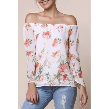Stylish Long Sleeve Off-The-Shoulder Floral Print Chiffon Women's Blouse