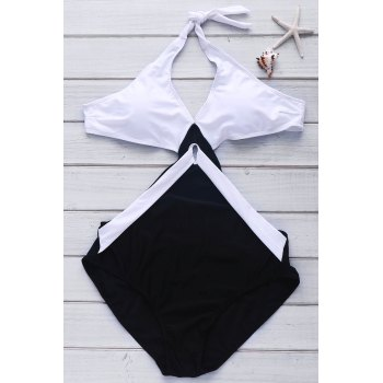 Sexy Style Color Block Backless One-Piece Swimwear - WHITE AND BLACK WHITE/BLACK