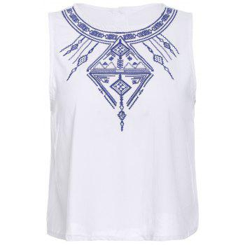 Ethnic Style Scoop Neck Embroidered Button Design Women's Tank Top