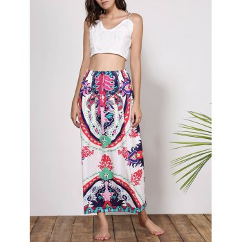 Bohemian Mid-Waisted Waist Drawstring Printed Women's Maxi Skirt - S S