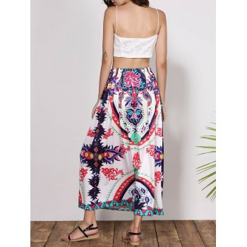 Bohemian Mid-Waisted Waist Drawstring Printed Women's Maxi Skirt - COLORMIX S
