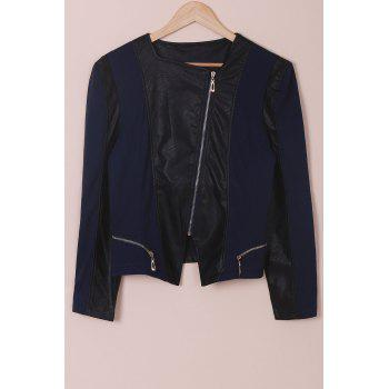 Women's Chic Faux Leather Zipper Long Sleeve Jacket - BLUE AND BLACK 4XL