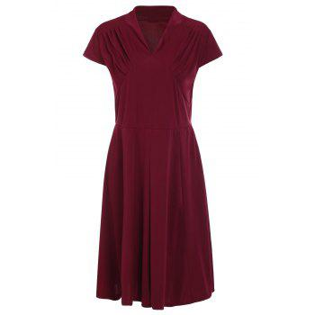 Retro Style Wine Red V-Neck Short Sleeve Dress For Women