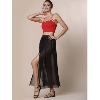 Stylish Low-Waisted High Slit Solid Color Women's Skirt - BLACK ONE SIZE(FIT SIZE XS TO M)