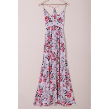 Elegant Spaghetti Strap Flower Printed Maxi Dress For Women