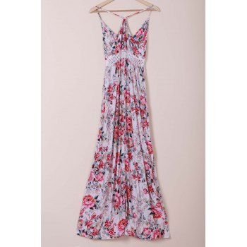 Elegant Spaghetti Strap Flower Printed Maxi Dress For Women - PINK L