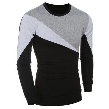 Casual Long Sleeves Color Block T-Shirt For Men