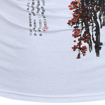 Casual Long Sleeves Wintersweet Printed T-Shirt For Men - WHITE M